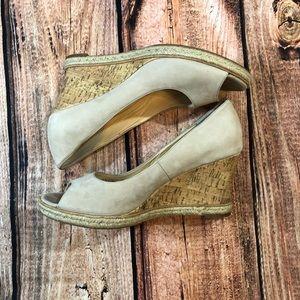 {Cole Haan} beige suede peep toe wedge
